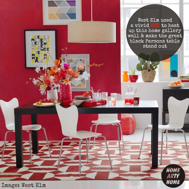 Colour Gallery Walls red west elm parsons table