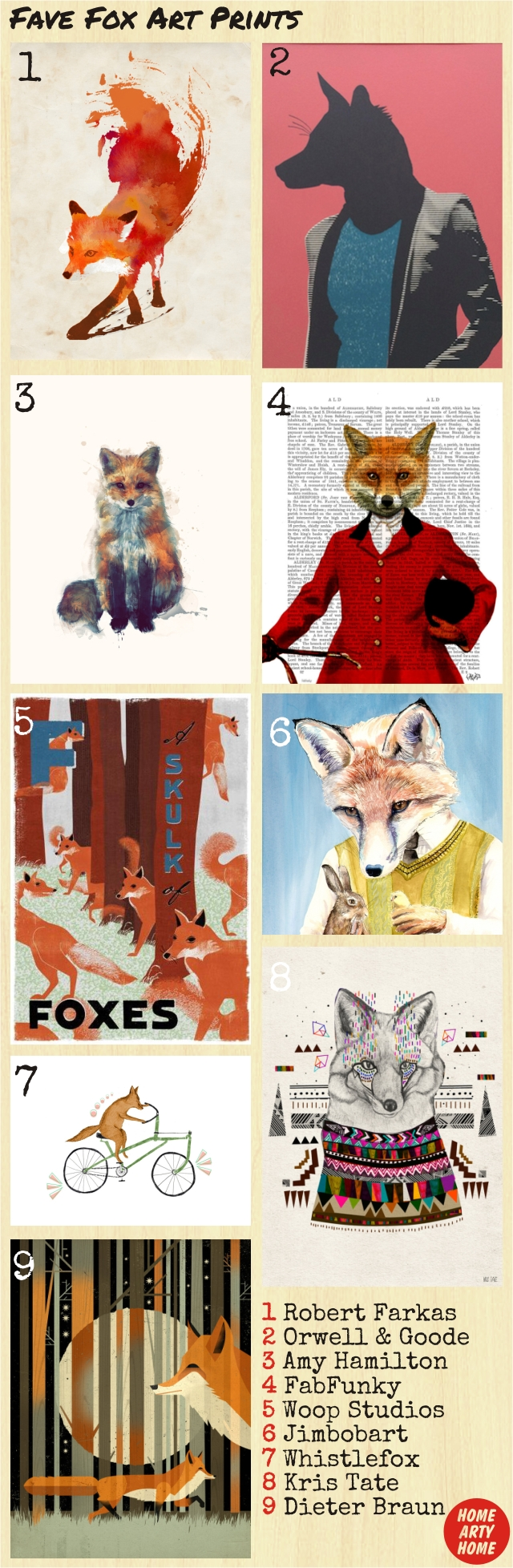 Foxy art prints homeartyhome
