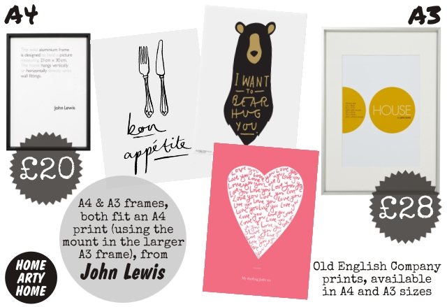 John Lewis Art Frames homeartyhome A4 and A3