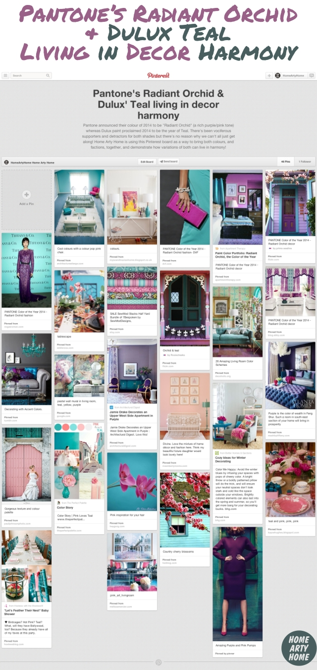 Pantone Radiant Orchid and Dulux Teal Pinterest Board