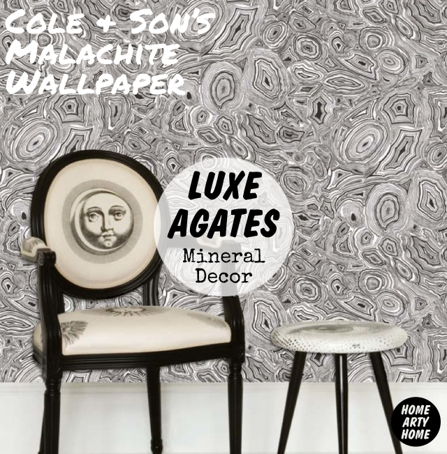Luxe Agates Mineral Decor homeartyhome Cole and Son Malachite Wallpaper white