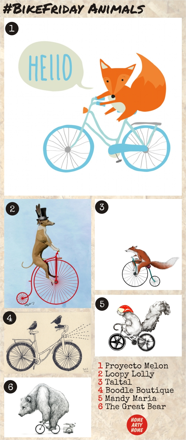 Bike Friday Animals Art Prints homeartyhome