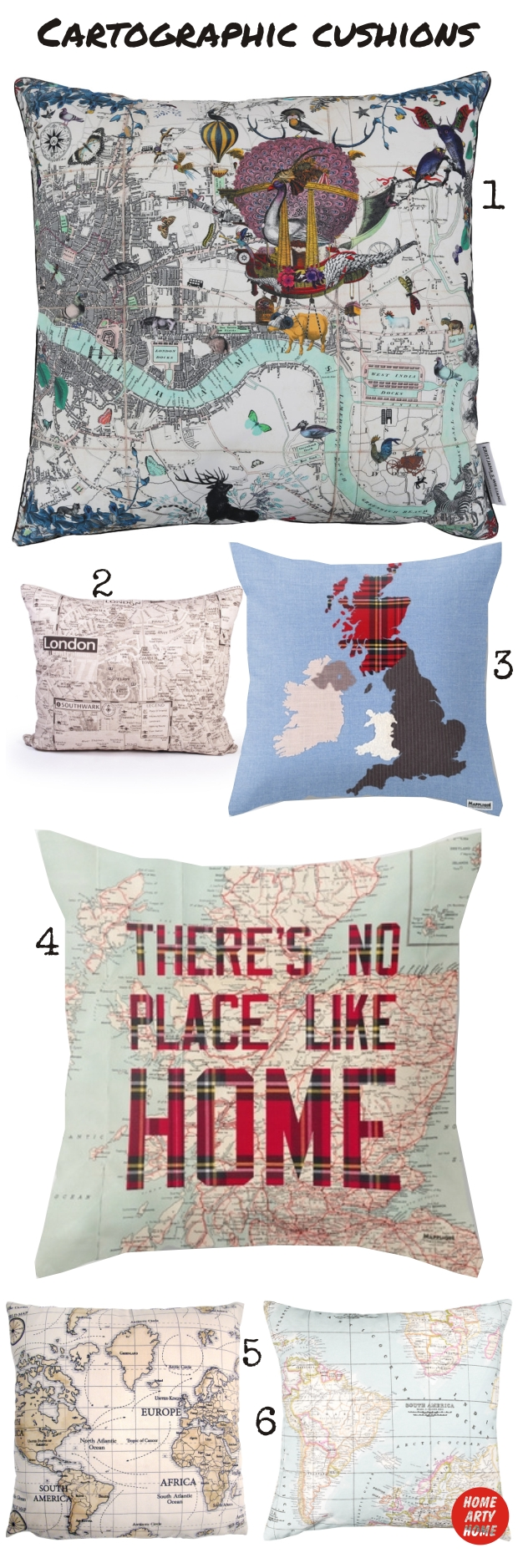 MAP CUSHIONS homeartyhome