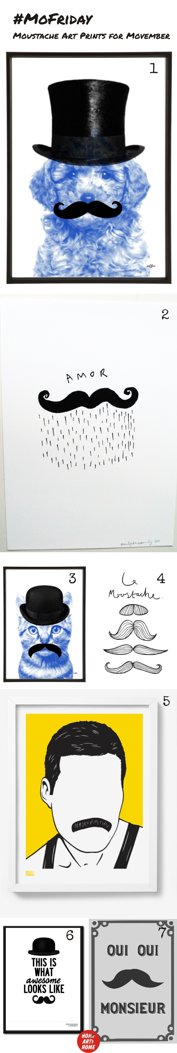 MoFriday Movember Moustache Art Prints homeartyhome