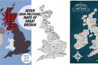 7 (non-political) Map Art Prints of Great Britain