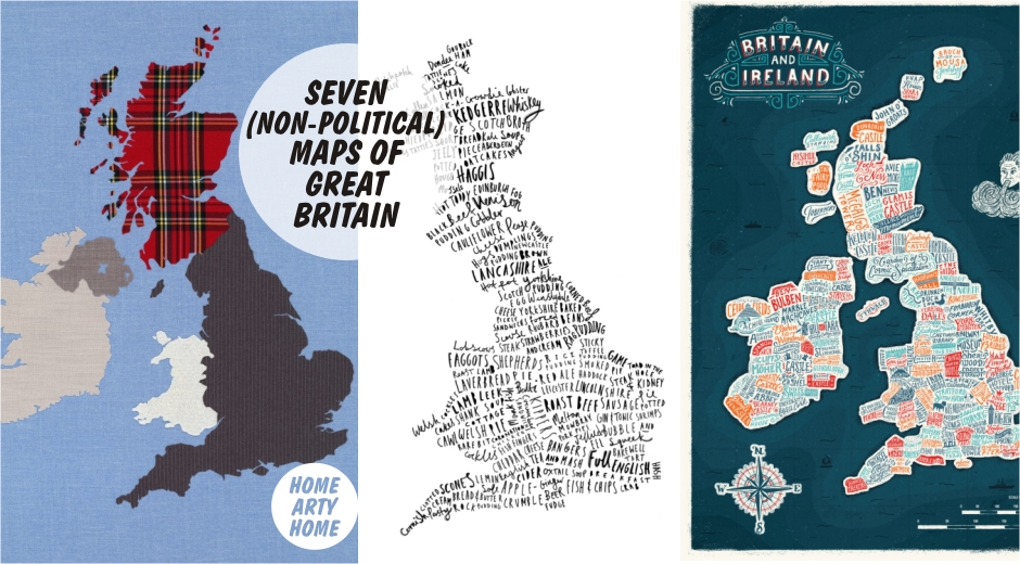 Political Map Of Great Britain.7 Non Political Map Art Prints Of Great Britain Home Arty Home